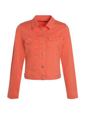 Veste courte coton brodee poche orange corail femme