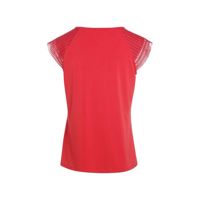 T-shirt manches courtes et pli rouge femme