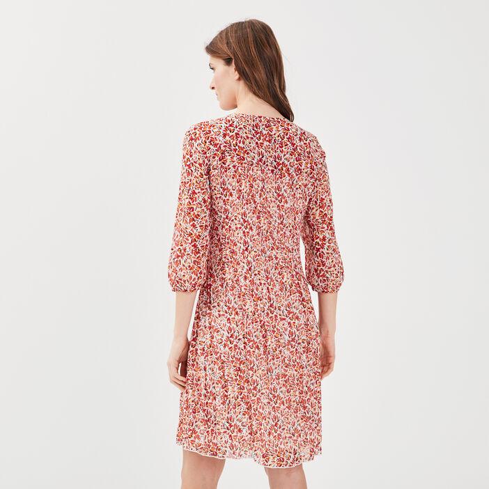 Robe évasée plissée ecru femme