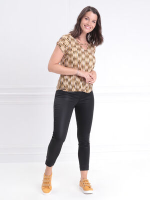 Blouse manches courtes froncee jaune or femme
