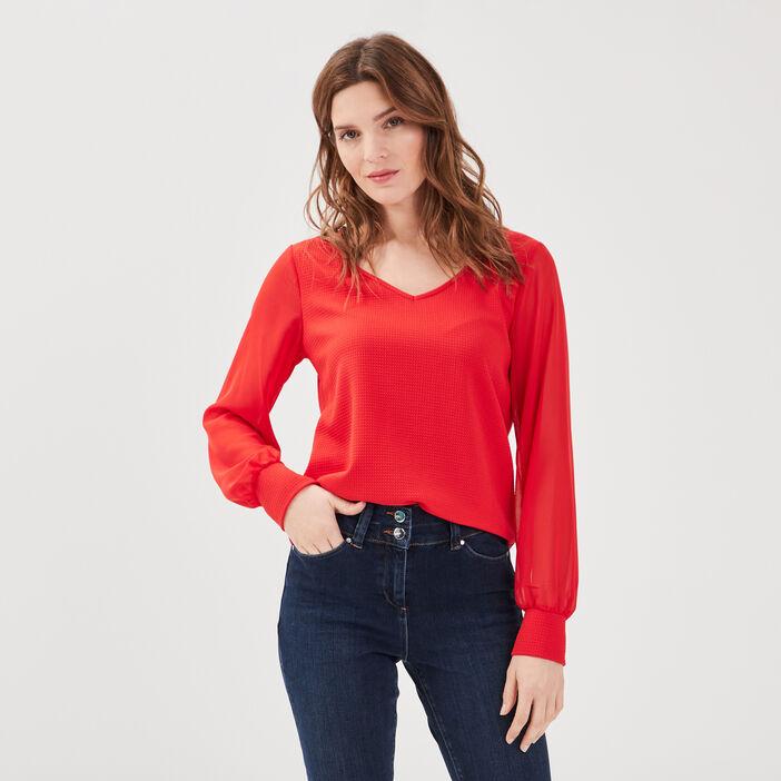 T-shirt manches longues rouge fluo femme
