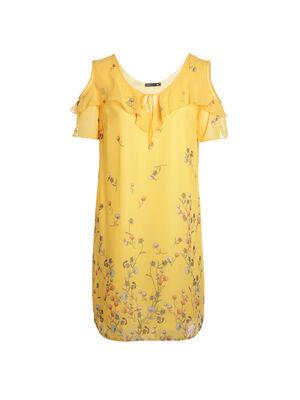 Robe imprimee manches courtes jaune femme