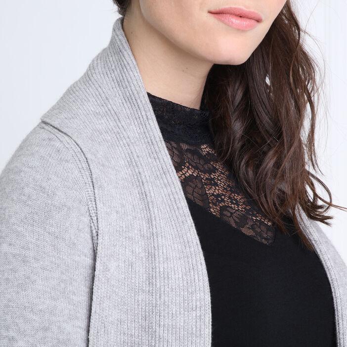 Gilet col châle maille à côtes gris clair femme