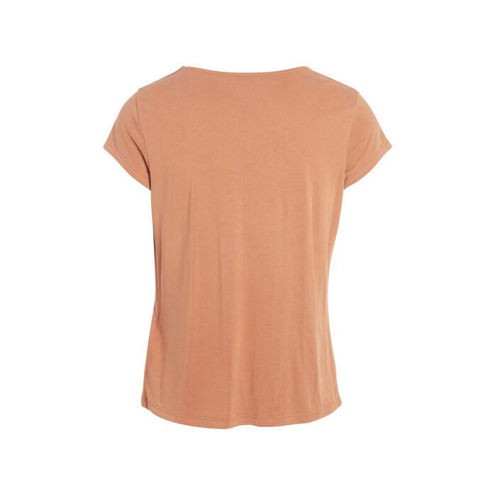T-shirt manches courtes noué orange foncé femme