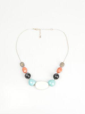 Ras de cou grosses perles couleur or femme