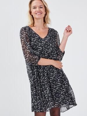 Robe droite plissee noir femme