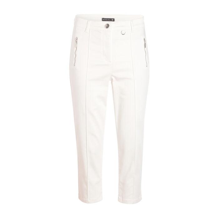 Pantacourt avec poches zippés ecru femme