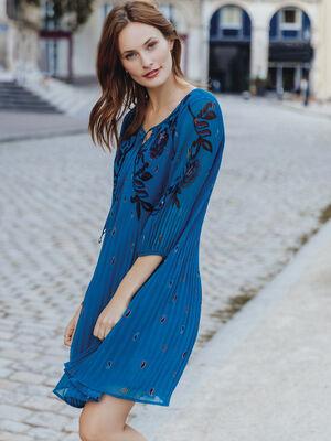 Robe evasee plissee bleu petrole femme