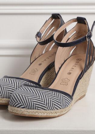 Sandales a talons compenses bleu femme