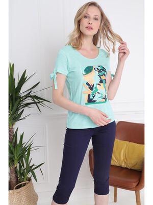 T shirt manches courtes avec noeuds vert menthe femme