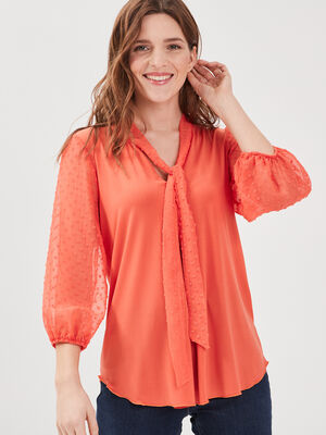 T shirt manches 34 orange corail femme