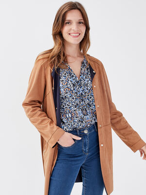 Manteau droit boutonne camel femme