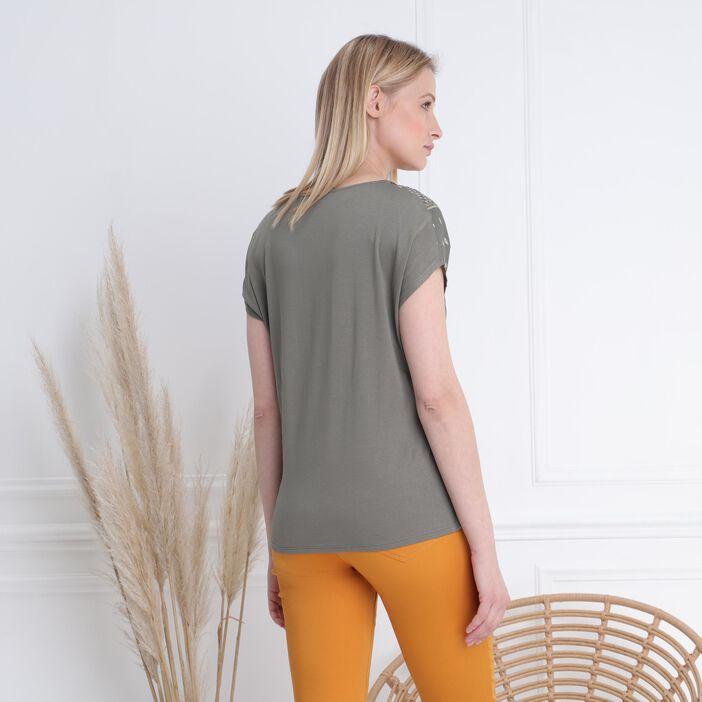 T-shirt manches courtes vert kaki femme