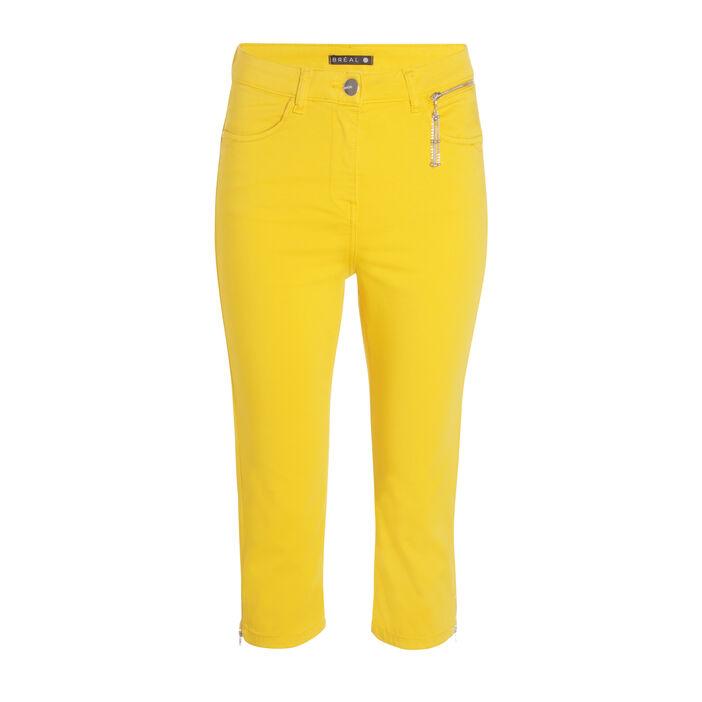 Pantacourt droit poche zippée jaune moutarde femme