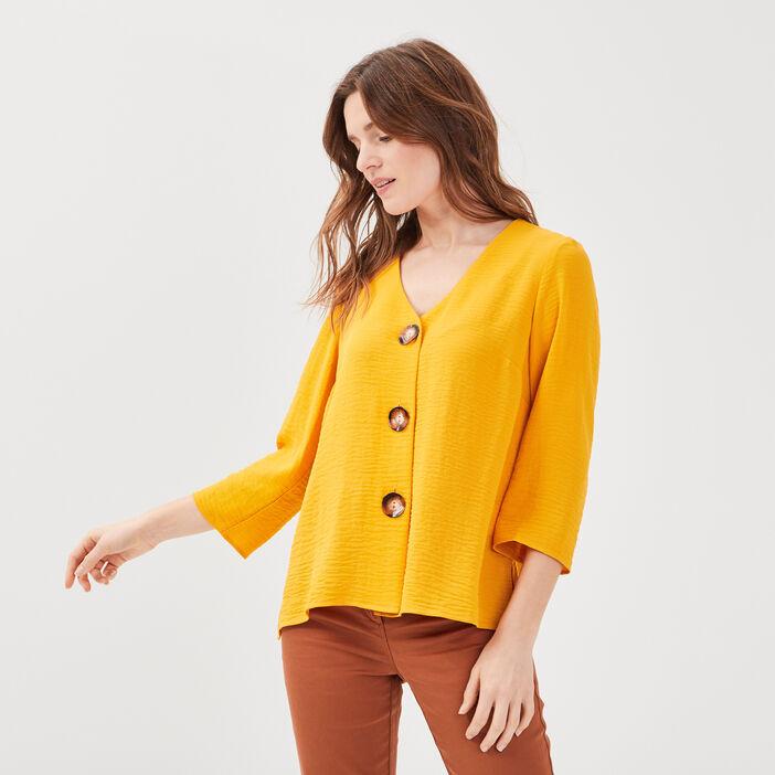 Chemise manches 3/4 jaune or femme