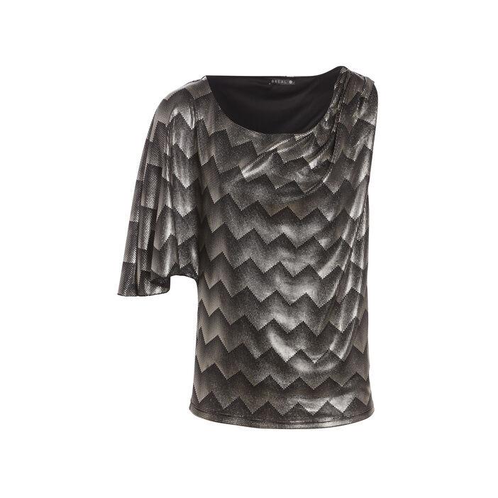 T-shirt manches asymétriques noir femme