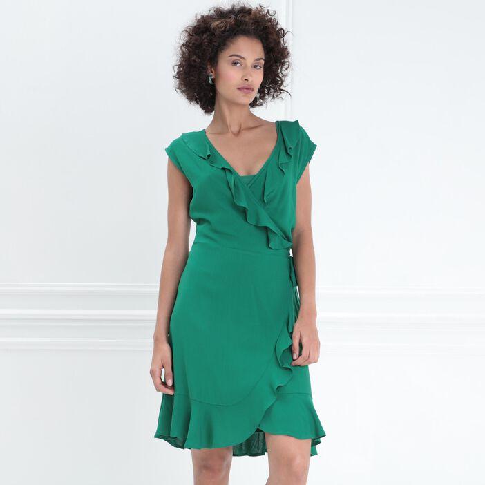 Robe portefeuille à volants vert femme