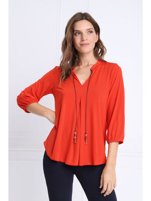 T shirt manches 34 a cordons rouge corail femme