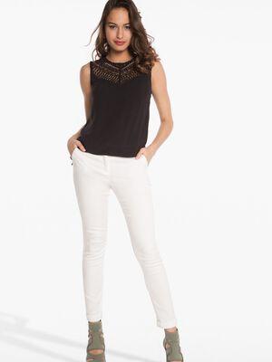 Pantalon 78eme ajuste a revers blanc femme