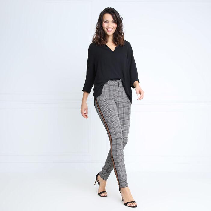 Pantalon taille standard bandes marron foncé femme