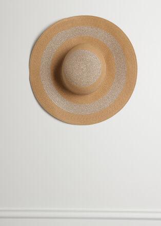 Chapeau de paille double bande sable femme