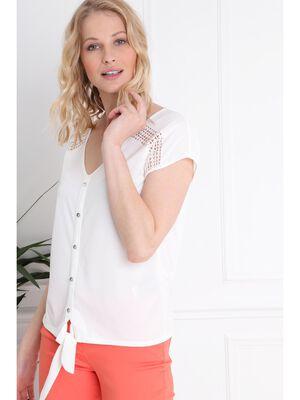 T shirt manches courte uni boutonne ecru femme