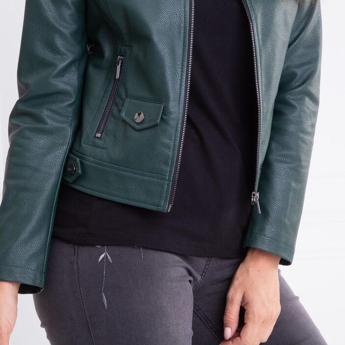 Veste cintrée matière grainée unie vert canard femme