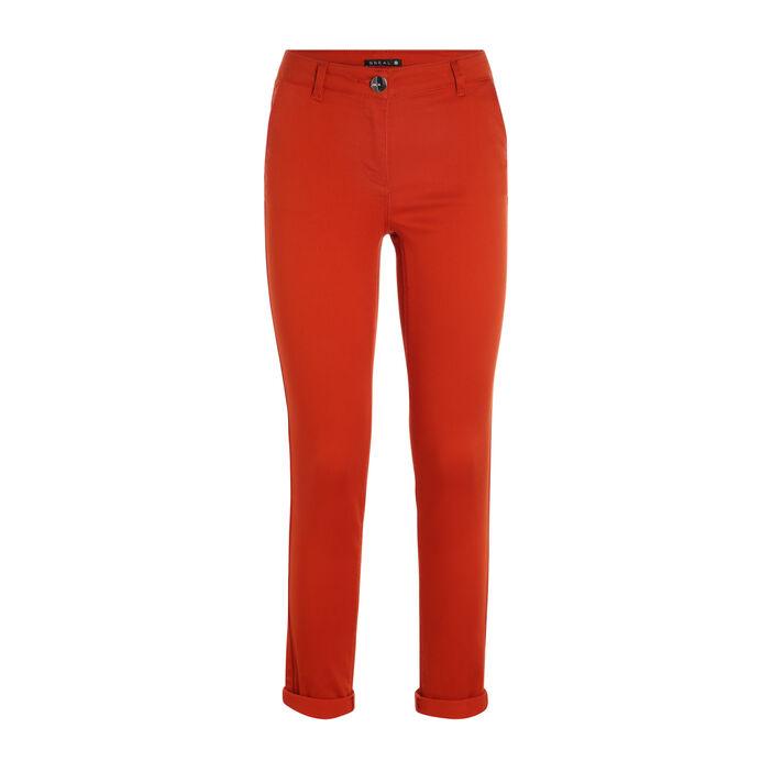 Pantalon taille basculée orange foncé femme