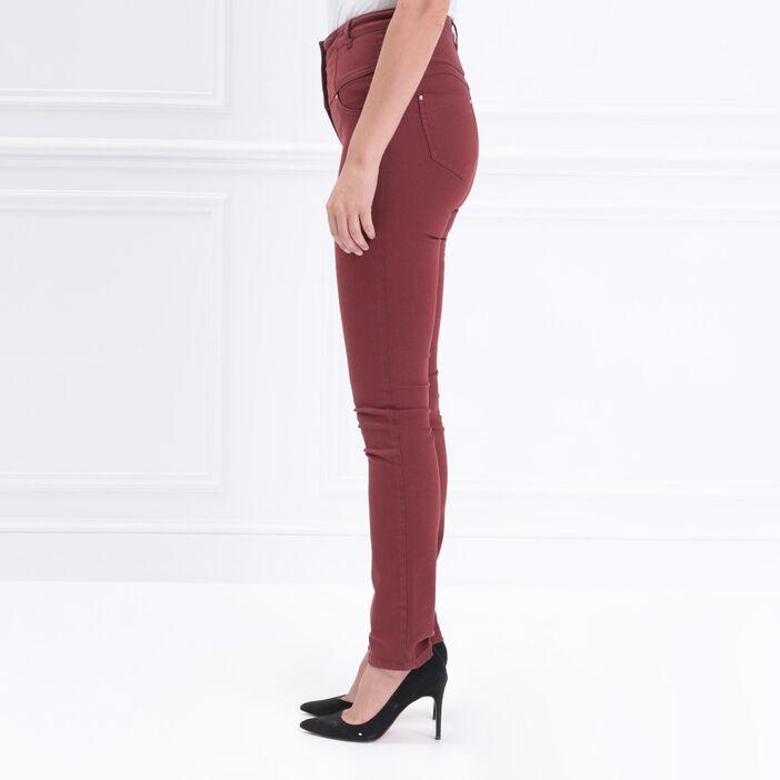 Pantalon magique sculptant uni rouge foncé femme