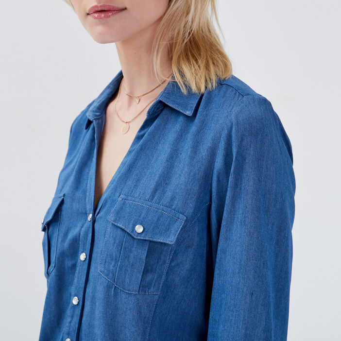 Chemise en jean denim stone femme