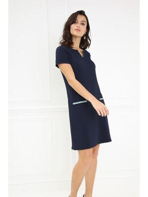 Robe droite unie manches courtes bleu fonce femme