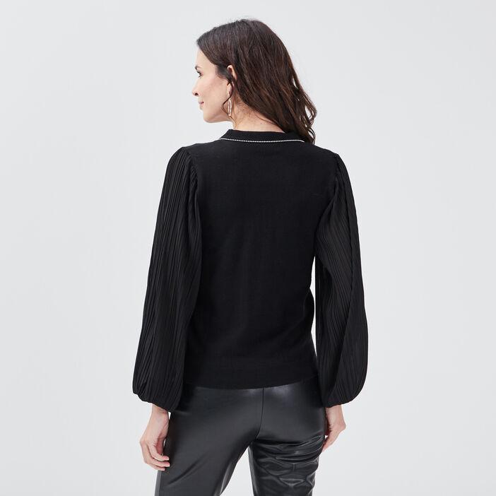 Pull manches longues noir femme