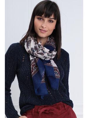 Foulard imprime floral creme femme