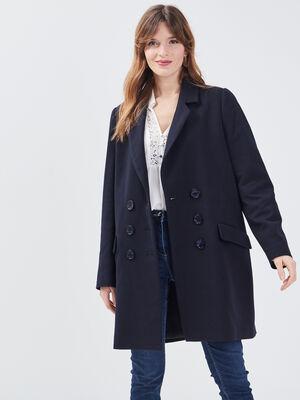 Manteau droit doube boutonnage bleu fonce femme