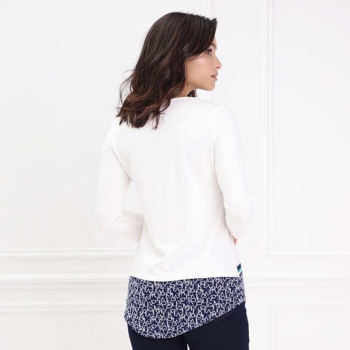 T-shirt manches 3/4 col rond bleu marine femme