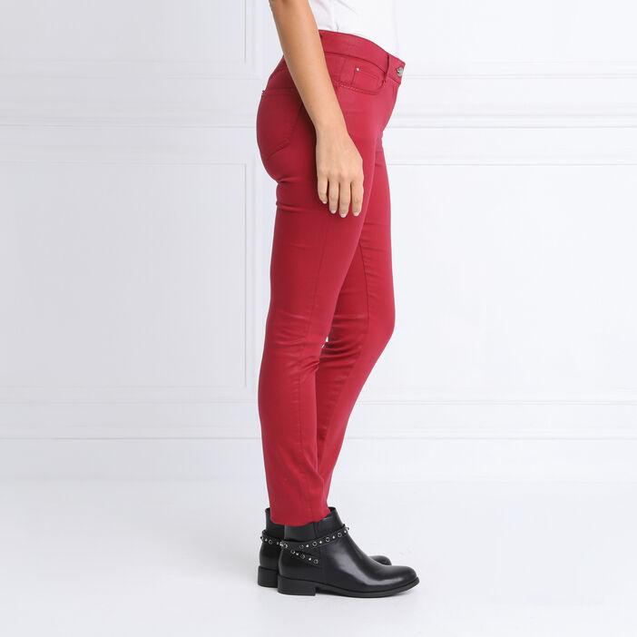 Pantalon ajusté enduit bordeaux femme