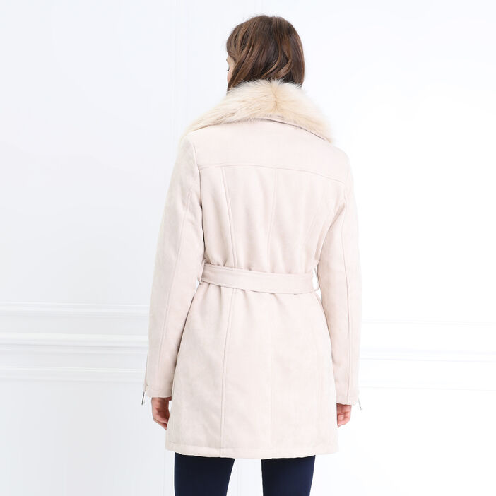 Manteau droit fausse fourrure creme femme