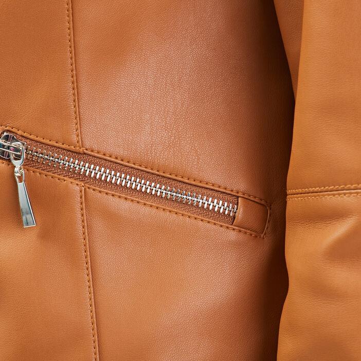 Veste droite zippée col rond camel femme