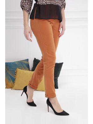 Pantalon taille standard camel femme