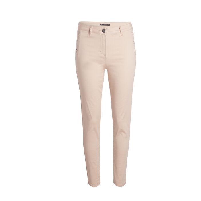 Pantalon taille standard slim à ponts beige femme