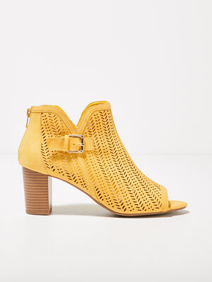 Sandales a talons perforees jaune femme