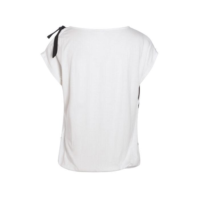 T-shirt manches courtes nœud ecru femme