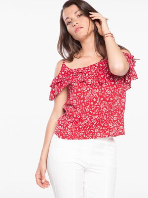 Chemise manches courtes imprimee rouge femme