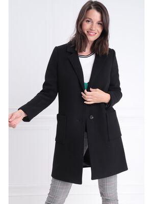 Manteau long droit boutonne noir femme