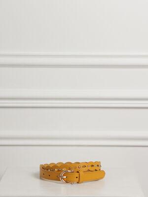 Ceinture grainee a clous jaune femme