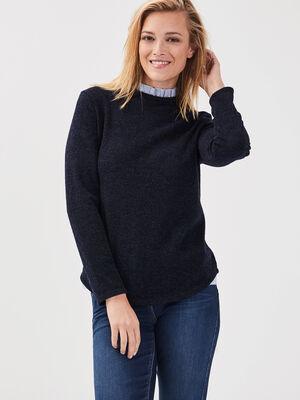 T shirt manches longues bleu fonce femme