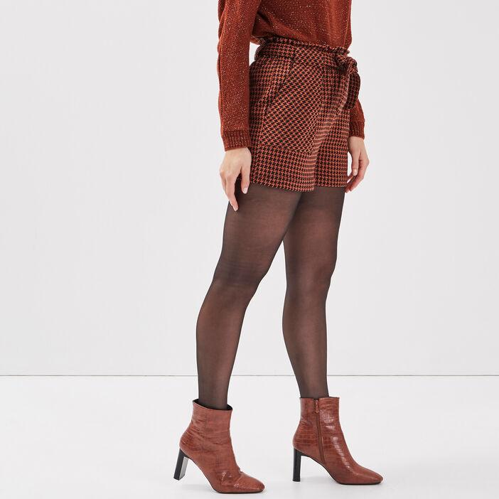 Short paperbag rouge foncé femme