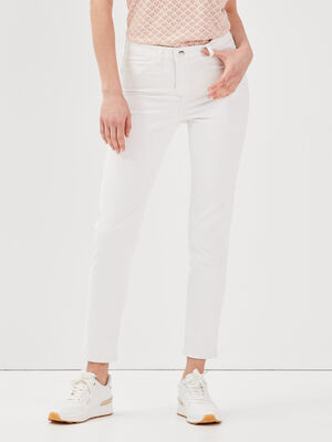 Pantalon reversible confortable ecru femme