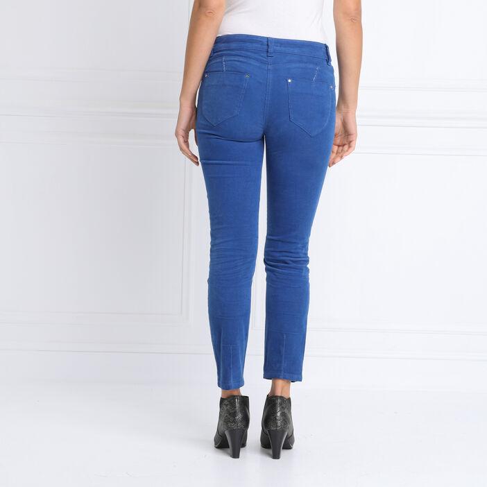 Pantalon ajusté 7/8ème bleu roi femme