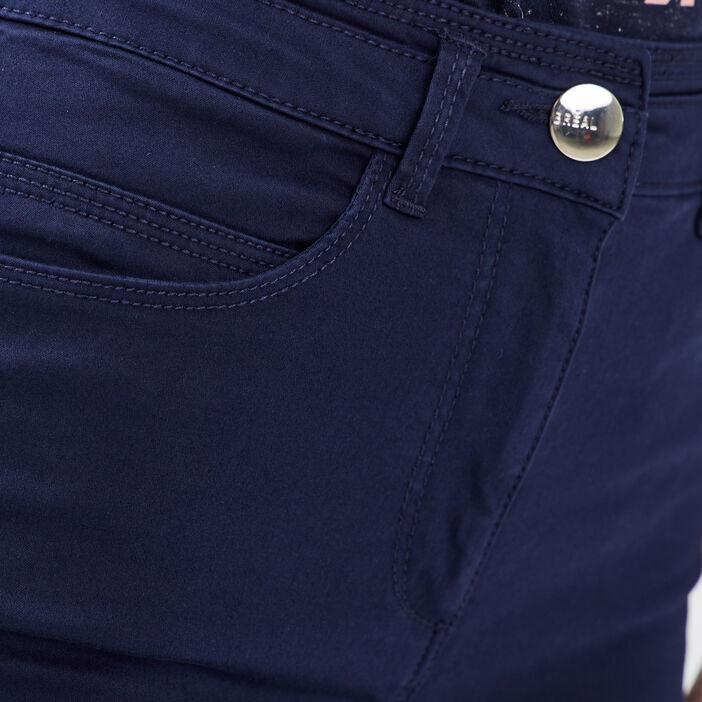 Pantalon ajusté taille haute bleu marine femme